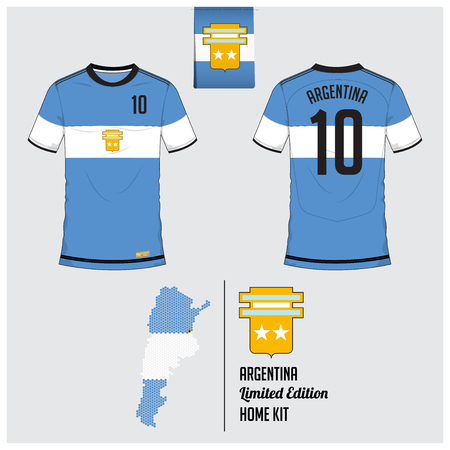 Soccer jersey or football kit, template for Argentina National Football Team. Front and back view soccer uniform. Flat football logo on Argentina flag label and map in hexagon pattern. Vector Illustration. Illusztráció