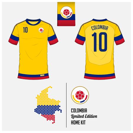 Maillot de football ou kit de football, modèle pour l'équipe nationale de Colombie de football. Uniforme de soccer avant et arrière. Logo de football plat sur l'étiquette du drapeau de la Colombie et carte en motif hexagonal. Illustration vectorielle