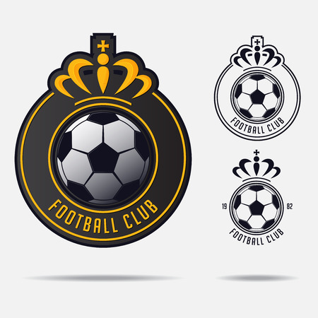 Soccer emblem or Football Badge Logo Design for football team. Minimal design of golden crown and classic soccer ball. Football club logo in black and white icon. Vector Illustration.