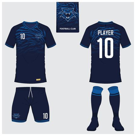 Koszulka piłkarska lub zestaw piłkarski, krótki, szablon skarpetki do klubu sportowego. Piłka nożna t-shirt makieta. Przód i tył widok piłki nożnej jednolite. Logo piłki nożnej na niebieskiej etykiecie. Ilustracja wektora. Logo