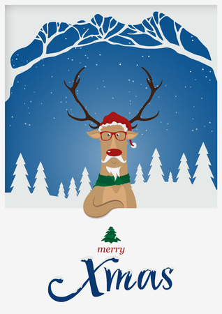 Happy Merry Christmas greeting card. Reindeer red nose standing in front of snow winter scene. Merry X Mas typography with snow cover. Holiday decoration. Vector Illustration. Illustration