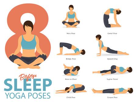 Ein Satz weibliche Figuren der Yogahaltungen für Yoga Infographic 8 wirft für Übung vor Schlaf im flachen Design auf. Vektor-Illustration. Vektorgrafik