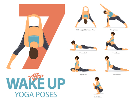 A set of yoga postures female figures for Infographic 7 Yoga poses for exercise after wake up in flat design. Vector Illustration. Ilustração