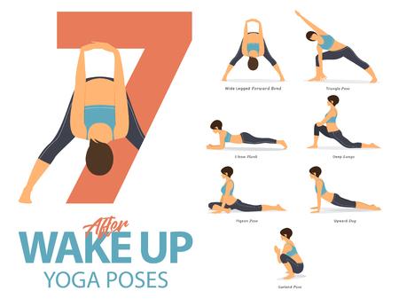Een set van yogahoudingen vrouwelijke figuren voor Infographic 7 Yoga houdingen voor oefening na ontwaken in plat ontwerp. Vector illustratie.