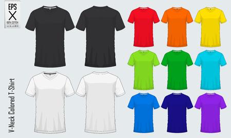 Set of v-neck t-shirts templates. Illustration