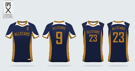 T-shirt modello di design sportivo per jersey di calcio, kit calcio e canotta per la maglia da basket. Sport divisa in vista frontale e posteriore. T-shirt mock up per il club sportivo. Illustrazione vettoriale