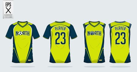 T-shirt sport ontwerpsjabloon voor voetbal jersey, voetbal kit en tank top voor basketbal jersey. Sportuniform in vooraanzicht en achteraanzicht. T-shirt bespotten voor sportclub. Vector illustratie.