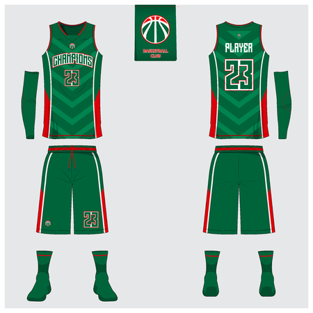 Basketball uniform or sport jersey, shorts, socks template for basketball club. Front and back view sport t-shirt design. Tank top t-shirt mock up with basketball flat logo design. Vector Illustration. Stok Fotoğraf - 90421377
