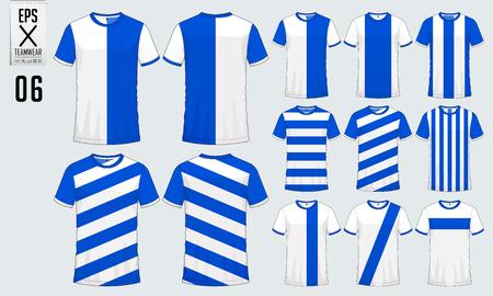 T-Shirt Sport Design für Fußball Trikot, Fußball-Kit oder Sport einheitliche Vorlage. Fußball T-Shirt Mock-up. Vorder- und Rückansicht Fußball Uniform. Vektor-Illustration. Standard-Bild - 90680506