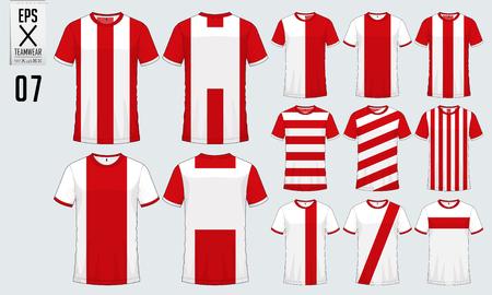 T-Shirt Sport Design für Fußball Trikot, Fußball-Kit oder Sport einheitliche Vorlage. Fußball T-Shirt Mock-up. Vorder- und Rückansicht Fußball Uniform. Vektor-Illustration. Standard-Bild - 90680507