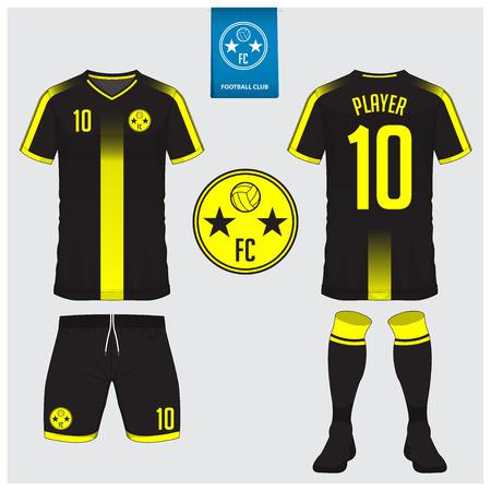 축구 유니폼, 축구 키트, t- 셔츠 스포츠, 스포츠 클럽을위한 짧은, 양말 템플릿. 축구 t- 셔츠를 조롱 하 고. 전면 및 후면보기 축구 유니폼입니다. 파란