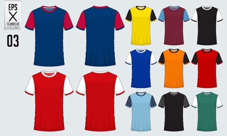 T-shirt sport design per jersey di calcio, kit calcio o modello di divisa sportiva. T-shirt da calcio mock up. Uniforme da calcio davanti e dietro. Illustrazione vettoriale