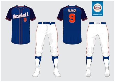 Honkbal uniforme mock up, voor- en achterkant bekijken vectorillustratie. Stockfoto - 91093947