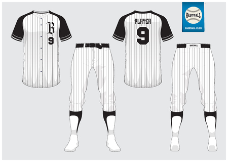 Uniforme de baseball mock up, vue avant et arrière Vector Illustration.