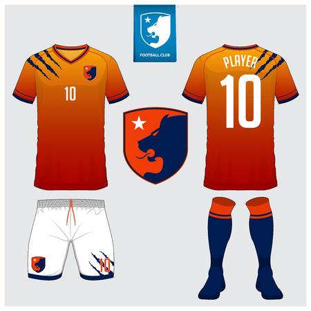 Fußballtrikot, Fußballtrikot, T-Shirt Sport, Short, Sockenvorlage für Sportverein. Standard-Bild - 91944536