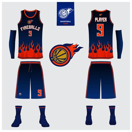 Basketball uniform template design. Tank top t-shirt mockup for basketball jersey. Front view and back view basketball shirt. Vector Illustration. Illustration