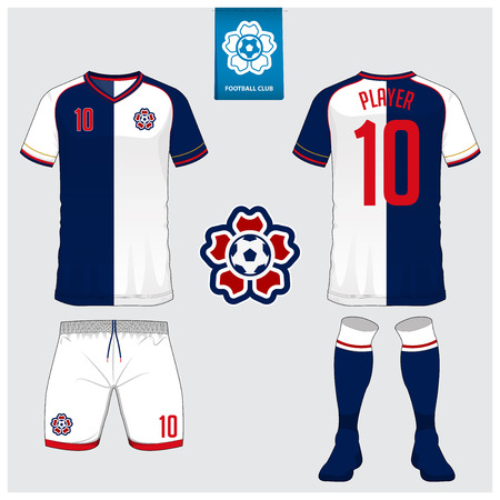 Soccer jersey, football kit, t-shirt sport, short, sock template for sport club. Football t-shirt mock up. Front and back view soccer uniform. Flat football logo on blue label. Vector Illustration.