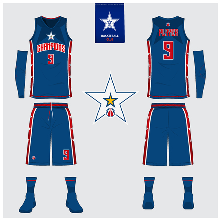 Basketball uniform or sport jersey, shorts, socks template for basketball club. Front and back view sport t-shirt design. Tank top t-shirt mock up with basketball flat icon design. Vector Illustration.  イラスト・ベクター素材