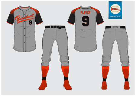 Baseball jersey, sport uniform, raglan t-shirt sport, short, sock template. Baseball t-shirt mock up. Front and back view baseball uniform. Flat baseball logo on blue label. Vector Illustration.