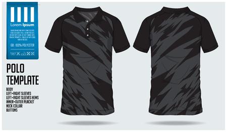 Polo camiseta de diseño deportivo para camiseta de fútbol, kit de fútbol o club deportivo. Uniforme deportivo en vista frontal y vista trasera. Camiseta maqueta para club deportivo. Ilustracion vectorial Ilustración de vector