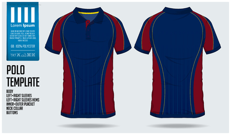 Polo t shirt sport design template for soccer jersey, football kit or sport club. Sport uniform in front view and back view. T-shirt mock up for sport club. Vector Illustration. Vectores