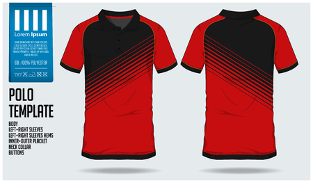 Polo t shirt sport design template for soccer jersey, football kit or sport club. Sport uniform in front view and back view. T-shirt mock up for sport club. Vector Illustration.  イラスト・ベクター素材