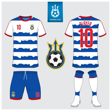 Soccer jersey, football kit, t-shirt sport, short, sock template for sport club. Football t-shirt mock up. Front and back view soccer uniform. Flat football on blue label. Vector Illustration.  イラスト・ベクター素材