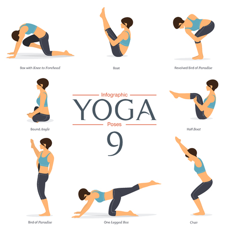 Set of 8 yoga poses in flat design . Woman figures exercise in blue sportswear and black yoga pant for yoga infographics. Vector Illustration. Ilustração