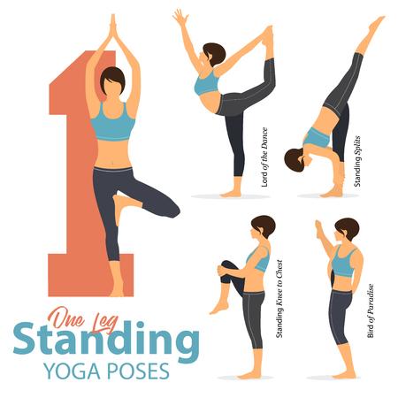 Um conjunto de ioga posturas femininas figuras para infográfico 5 Yoga em uma posição de pé coloca no projeto liso. As figuras da mulher exercitam no sportswear azul e na cuecas preta da ioga. Ilustração vetorial.