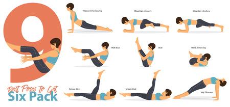 Zestaw figurek kobiecych do ułożenia pozycji jogi do infografiki 9 Najlepsze pozycje jogi, aby uzyskać sześciopak w płaskiej konstrukcji. Dane kobiety ćwiczenia w niebieskiej odzieży sportowej i czarnych spodniach do jogi. Ilustracji wektorowych. Ilustracje wektorowe