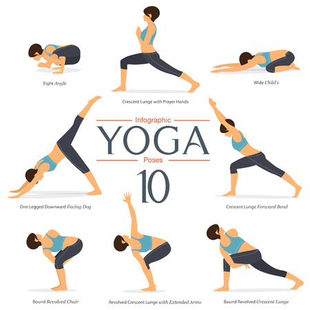 Set of 8 yoga poses in flat design . Woman figures exercise in blue sportswear and black yoga pant for yoga infographics. Vector Illustration. Иллюстрация