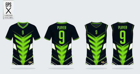 Green-black t-shirt sport design template for soccer jersey, football kit and tank top for basketball jersey. Sport uniform in front and back view. Tshirt mock up for sport club. Vector Illustration. 矢量图像