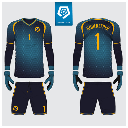 Goalkeeper jersey or soccer kit, long sleeve jersey, goalkeeper glove template design. Sport t-shirt mock up. Front and back view football uniform. Flat football logo label. Vector Illustration.