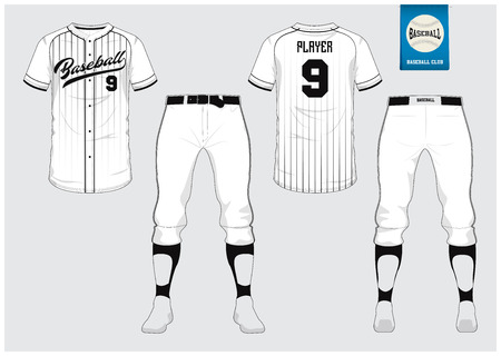 Baseball jersey, sport uniform, raglan t-shirt sport, short, sock template. Baseball t-shirt mock up. Front and back view baseball uniform. Flat baseball logo on blue label Vector Illustration.  イラスト・ベクター素材