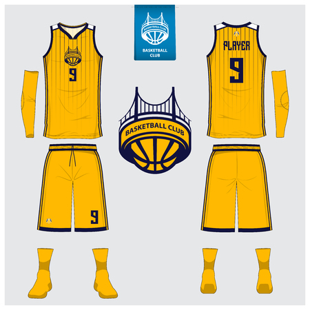 Basketball uniform or sport jersey, shorts, socks template for basketball club. Front and back view sport t-shirt design. Tank top t-shirt mock up with basketball flat logo design. Vector Illustration. 免版税图像 - 97014884