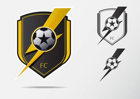 Soccer or Football Badge Logo Design for football team. Minimal design of golden thunderbolt and black and white soccer ball. Football club logo in lightning black and white icon. Vector Illustration.