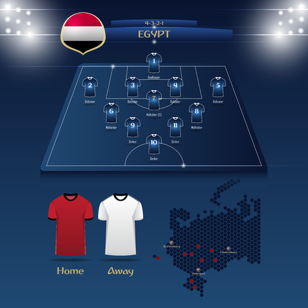 Team Egypt soccer jersey or football kit with match formation tactic infographic template. Football player position on football pitch and stadium map for TV broadcasting graphic. Vector Illustration.