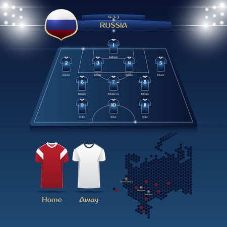 Team Russia soccer jersey or football kit with match formation tactic infographic. Football player position on football pitch and stadium map for broadcasting graphic. Vector Illustration. Ilustrace