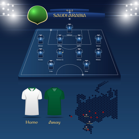 Saudi Arabia soccer jersey or football kit with match formation tactic infographic template. Football player position on football pitch and stadium map for TV broadcasting graphic. Vector Illustration. Ilustrace