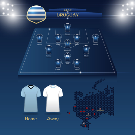 Team Uruguay soccer jersey or football kit with match formation tactic infographic template. Football player position on football pitch and stadium map for TV broadcasting graphic. Vector Illustration.
