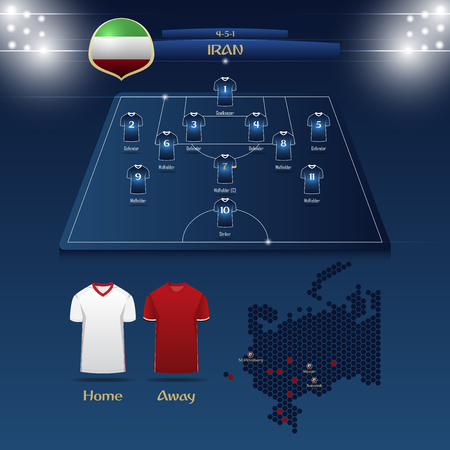 Team Iran soccer jersey or football kit with match formation tactic infographic. Football player position on football pitch and stadium map for broadcasting graphic. Vector Illustration.