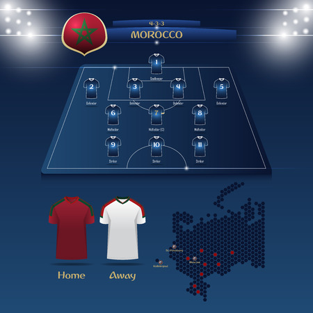 Team Morocco soccer jersey or football kit with match formation tactic info-graphic. Football player position on football pitch and stadium map for broadcasting graphic.