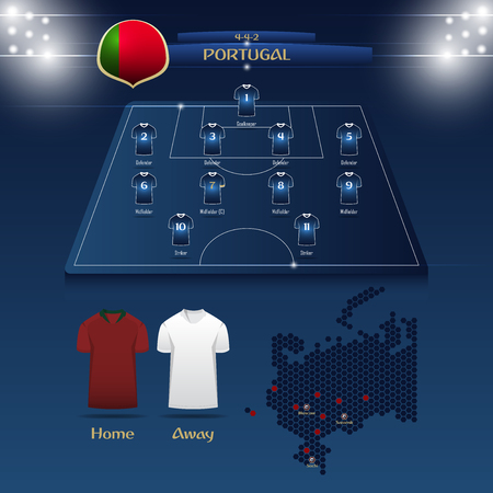 Team Portugal soccer jersey or football kit with match formation tactic info-graphic. Football player position on football pitch and stadium map for broadcasting graphic.
