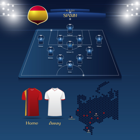 Team Spain soccer jersey or football kit with match formation tactic info-graphic. Football player position on football pitch and stadium map for broadcasting graphic. Illustration