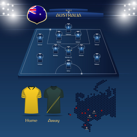 Team Australia soccer jersey or football kit with match formation tactic infographic. Football player position on football pitch and stadium map for broadcasting graphic. Vector Illustration. Illustration
