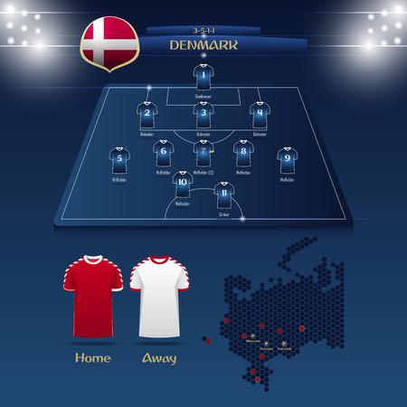 Denmark soccer jerseys with a field illustration