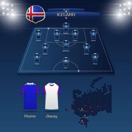 Team Iceland soccer jersey or football kit with match formation tactic infographic. Football player position on football pitch and stadium map. Vector Illustration. Illustration