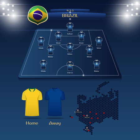 Team Brazil soccer jersey or football kit with match formation tactic infographic. Football player position on football pitch and stadium map vector illustration. Illustration