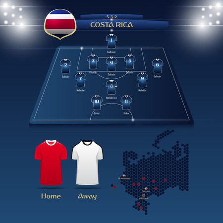 Team Costa Rica soccer jersey or football kit with match formation tactic infographic. Football player position on football pitch and stadium map vector illustration. Illustration