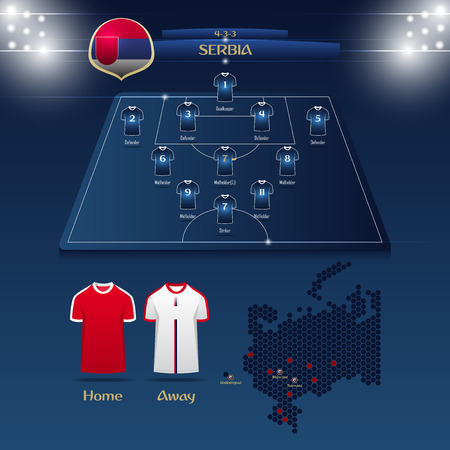 Team Serbia soccer jersey or football kit with match formation tactic infographic.